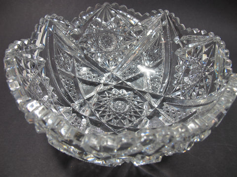 American Brilliant Period hand Cut Glass bowl hobstar - O'Rourke crystal awards & gifts abp cut glass