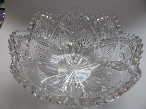 "American Brilliant Period hand Cut Glass mouth blown bowl abp  10"" - O'Rourke crystal awards & gifts abp cut glass"