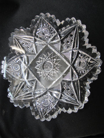 American Brilliant Period Cut Glass dish Antique - O'Rourke crystal awards & gifts abp cut glass