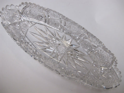 P& B Signed American Brilliant Period Hand Cut Antique Crystal dish - O'Rourke crystal awards & gifts abp cut glass