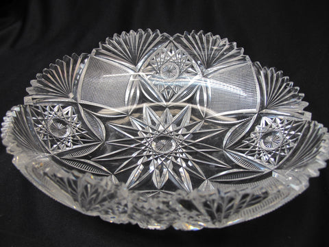 L. Straus Imperial American Brilliant Period hand Cut Glass oval bowl abp - O'Rourke crystal awards & gifts abp cut glass