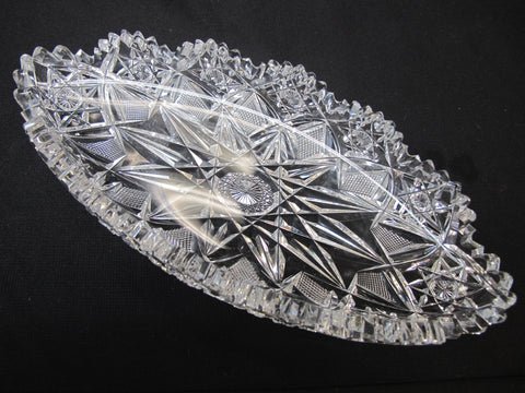 Signed Hawkes American Brilliant Period hand Cut mouth blown blank oval dish - O'Rourke crystal awards & gifts abp cut glass