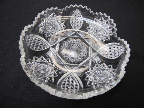 ABP cut glass ice cream dish American brilliant - O'Rourke crystal awards & gifts abp cut glass