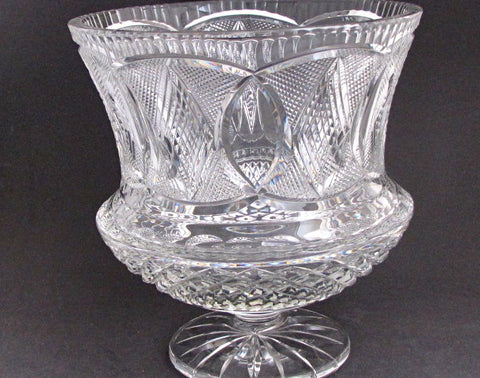 Hand Cut 24% lead crystal  large vase / bowl with space for etching 12.75 lb  Award - O'Rourke crystal awards & gifts abp cut glass
