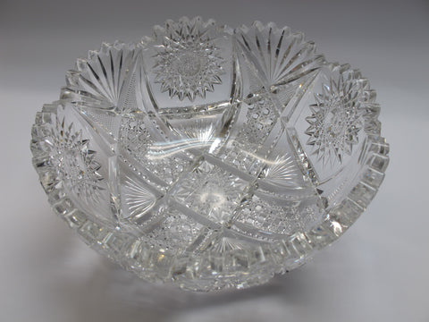 "American Brilliant Period Cut Glass ABP Antique 8.25"" bowl - O'Rourke crystal awards & gifts abp cut glass"