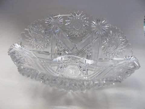 Straus ABP cut glass bowl Napoleon Hat shape American brilliant blown blank - O'Rourke crystal awards & gifts abp cut glass
