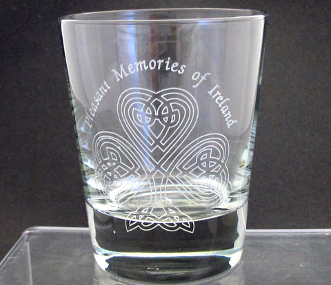 celtic / shamrock DOR glass 13 oz, St Patricks day gift, Ireland - O'Rourke crystal awards & gifts abp cut glass