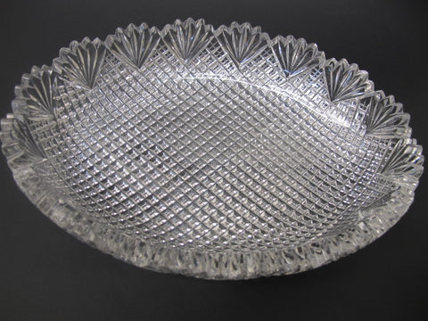 American Brilliant Period Cut Glass oval low bowl strawberry diamond fan - O'Rourke crystal awards & gifts abp cut glass
