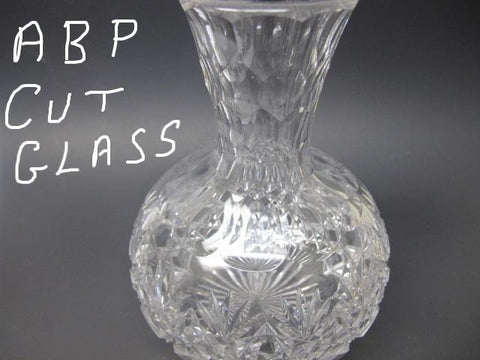 ABP Carafe American Brilliant Period hand Cut Glass block diamond - O'Rourke crystal awards & gifts abp cut glass