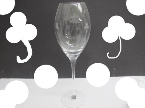 4 wine glasses hand cut Shamrock - O'Rourke crystal awards & gifts abp cut glass
