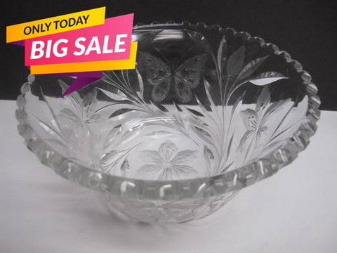 ABP cut glass bowl American brilliant blown blank intaglio butterfly - O'Rourke crystal awards & gifts abp cut glass