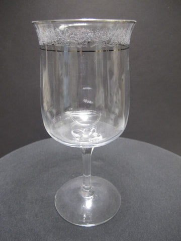 Lenox Moonspun Platinum Crystal goblet Made in USA Mt Pleasant PA mouth blown - O'Rourke crystal awards & gifts abp cut glass