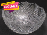 American Brilliant Period Hand Cut Glass bowl strawberry diamond fan abp