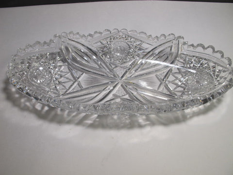 American Brilliant Period Cut Glass celery tray Antique