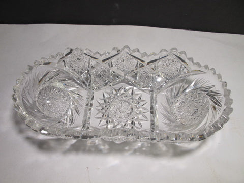 ABP Cut glass oval dish