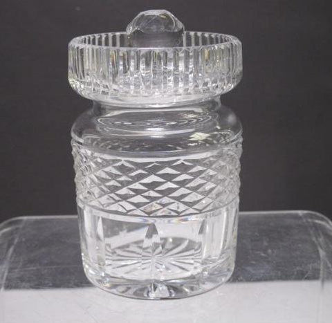 Signed Waterford crystal marmalade jar with sloted lid