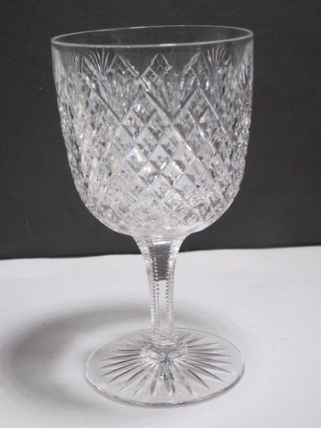 ABP American Brilliant Period hand Cut Glass blown Strawberry diamond goblet