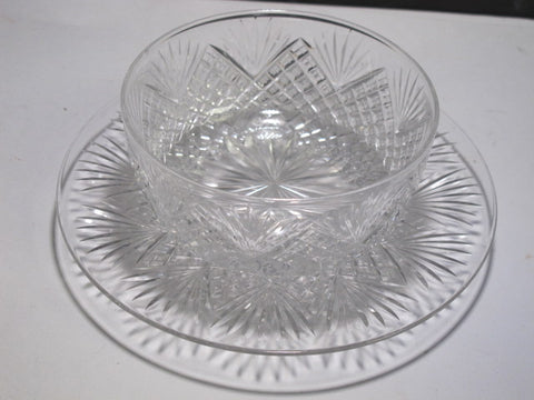 Cut Glass finger bowl + underplate strawberry diamond fan Antique crystal