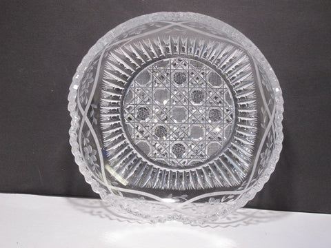 American Brilliant Period Cut Glass Signed P&B low bowl  Antique