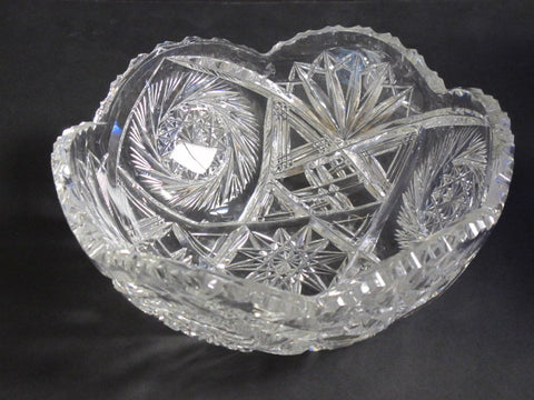 ABP cut glass bowl American brilliant Maple leaf