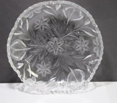 ABP cut glass low bowl Murillo Pairpoint Butterfly ANTIQUE C1