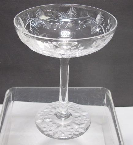 Hand Cut glass compote candy floral c25