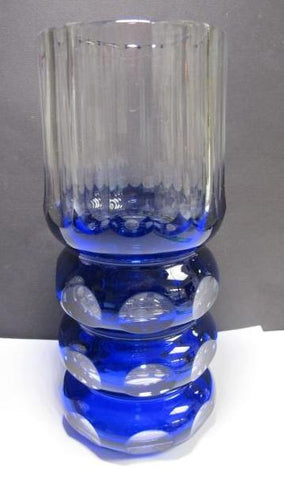 Hand Cut pannel Glass blue vase cut to clear