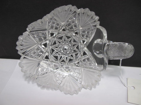 Cut Glass nappie Antique frosted fans 022