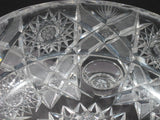 American Brilliant Period Hand Cut Glass Antique 3 legged bowl