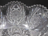 "American Brilliant Period hand Cut Glass Antique 8""bowl ABP wreath"