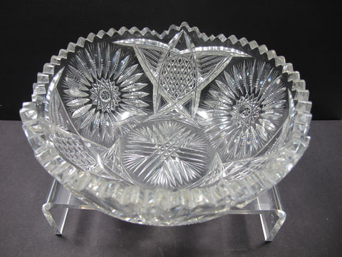 American Brilliant Period Cut Glass bowl Antique