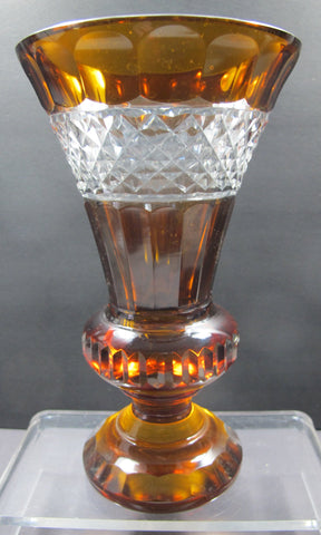 Cut glass vase AMBER dark