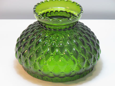 "Glass lamp shade diamond quilt green 6.5"", Made in USA ,"