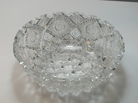 Signed Clark ABP cut glass Prima Donna bowl American brilliant Altered