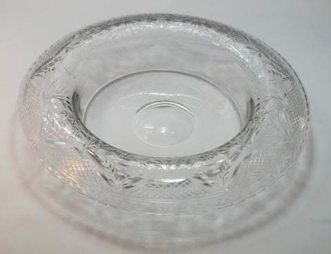 Hand Cut Glass roll out bowl Antique