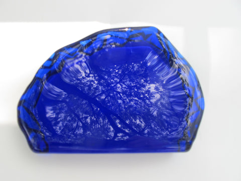 L.E Smith Glass Blue iceberg paperweight