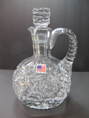 American Brilliant Period Cut Glass ABP Antique oval Decanter