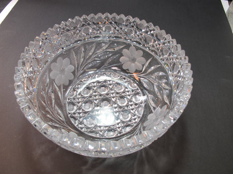 "American Brilliant Period Cut Glass ABP Antique 8"" bowl"