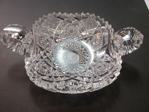 American Brilliant Period hand Cut Glass 2 handled dish