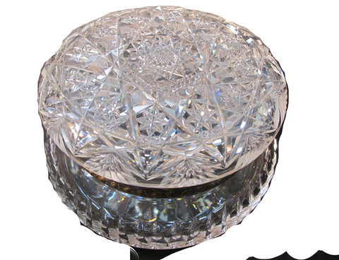 ABP Crystal Cut Glass covered large round dresser box