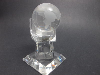 Crystal World Globe in Hand Award - O'Rourke crystal awards & gifts abp cut glass