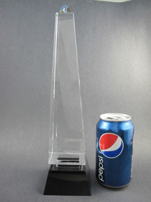 "Obelisk 12"" Crystal Award on Black Base - O'Rourke crystal awards & gifts abp cut glass"