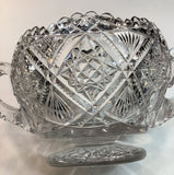 ABP cut glass ice tub Antique crystal 2 handles
