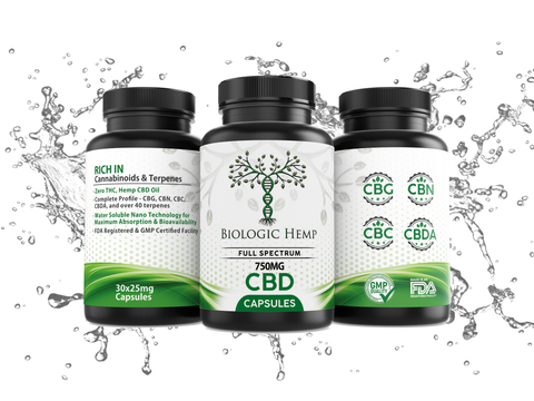 Image of CBD Oil Soft Gel Capsules - 750mg - Biologic Hemp Full Spectrum THC FREE Water Soluble CBD