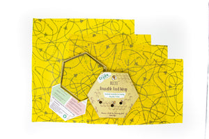 Buzzee Reusable Foodwraps- Busy Bees - 4 PACK