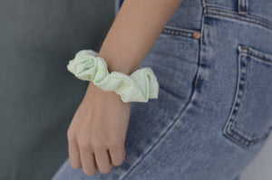 green mint scrunchie on model