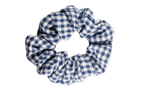 Picnic, blue plaid repurposed scrunchie