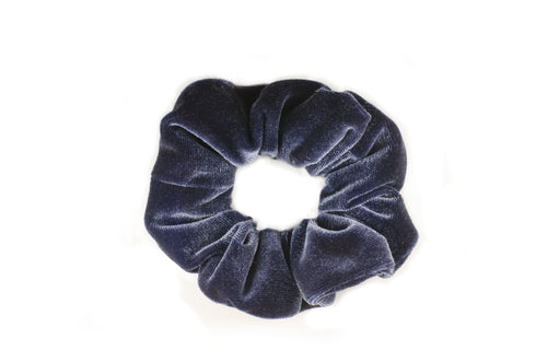 dark blue velvet scrunchie