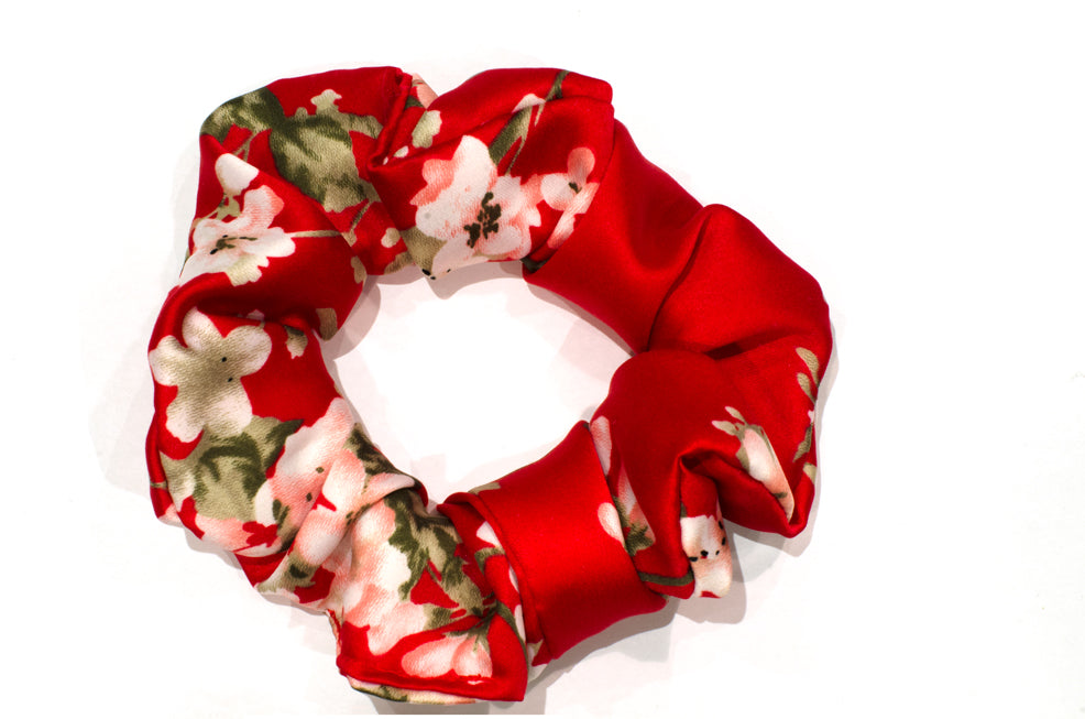 Cherry Blossom red scrunchie