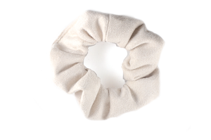 cream suede mini scrunchie